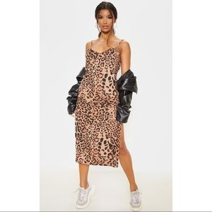 Leopard Midi High Slit Dress